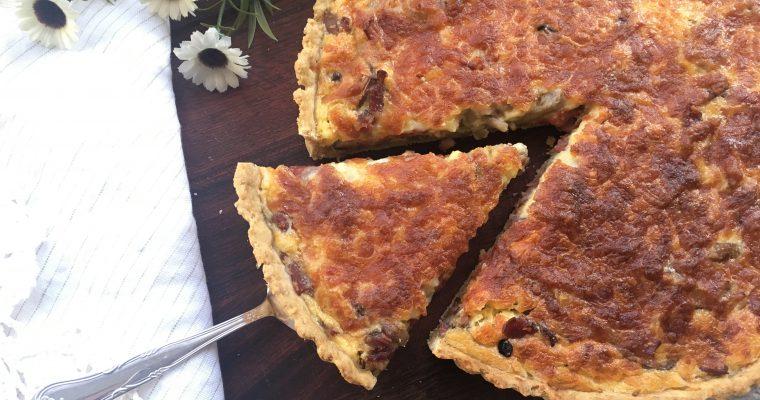 Tærte med kalkunbacon og svampe